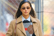 Irina Shayk Gets Preppy in a Plaid Cardigan, Jeans and Her Favorite Chunky Boots