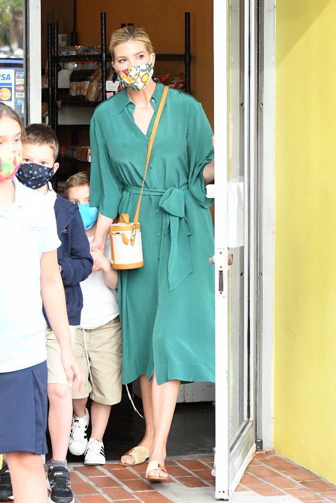 Ivanka Trump, green dress, straw sandals, slide sandals, miami