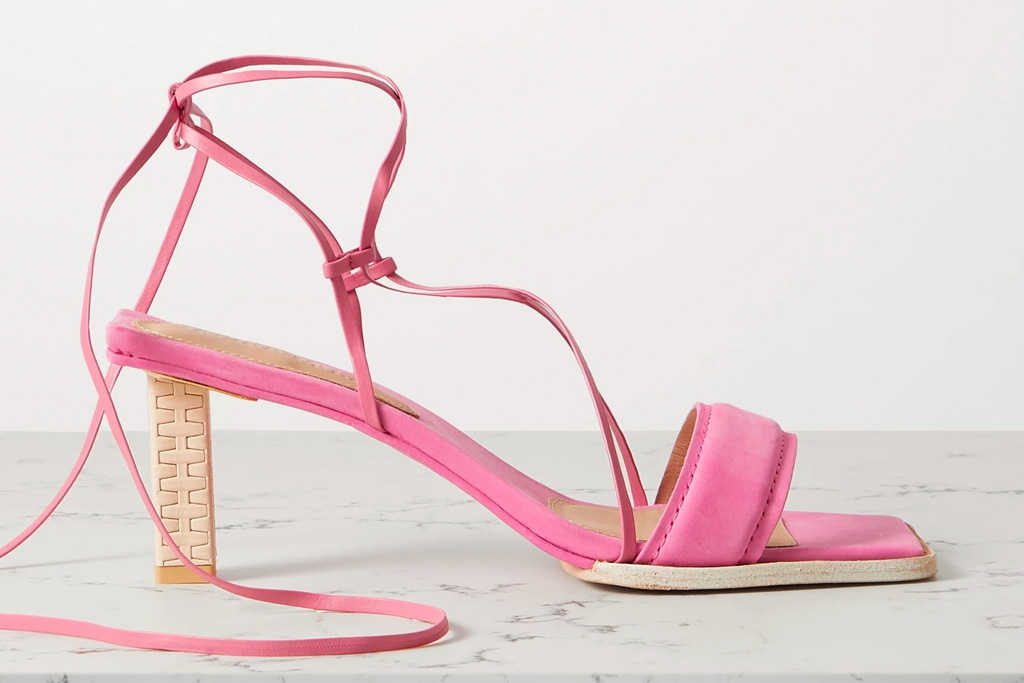 pink sandals, square-toe, jacquemus