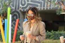 Jessica Alba Styles a Cozy Knit Cardigan with Dress Pants, White Sneakers & This Timeless Wardrobe Staple