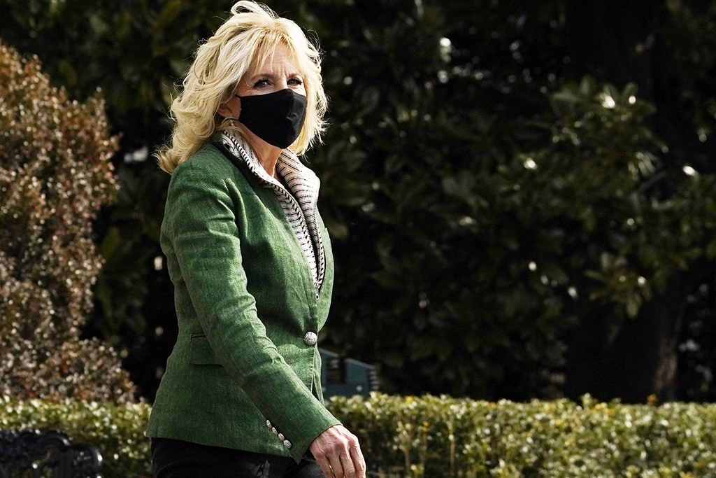 Jill Biden Leaves the White House in Green Jewel-Toned Jacket & Her Favorite Boot Trend