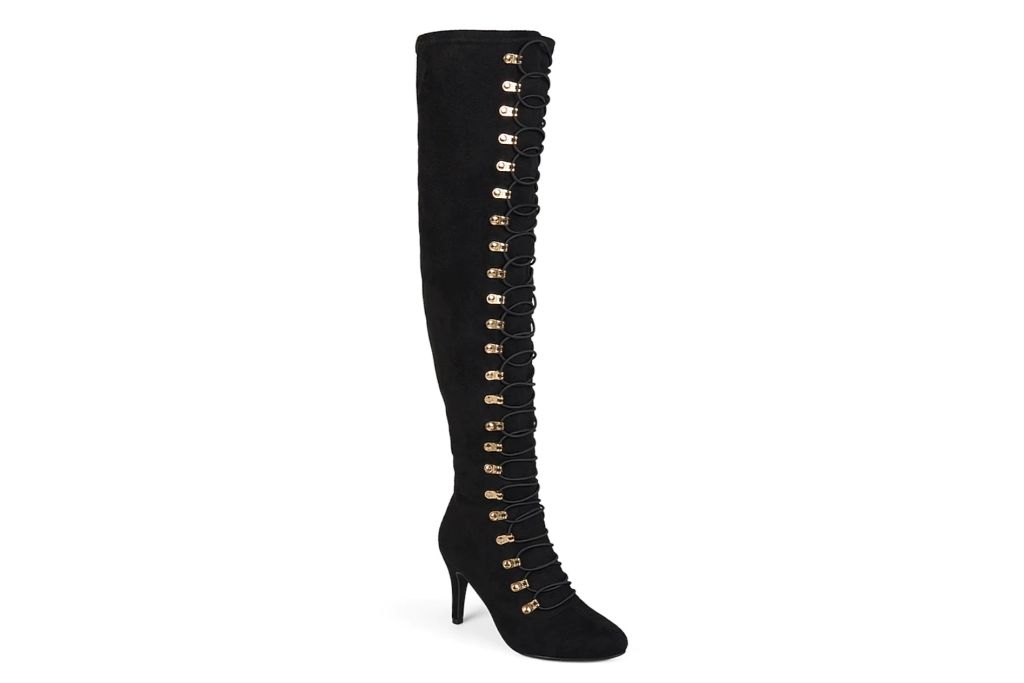 journee, trill thigh high boot, dsw, black lace up boot