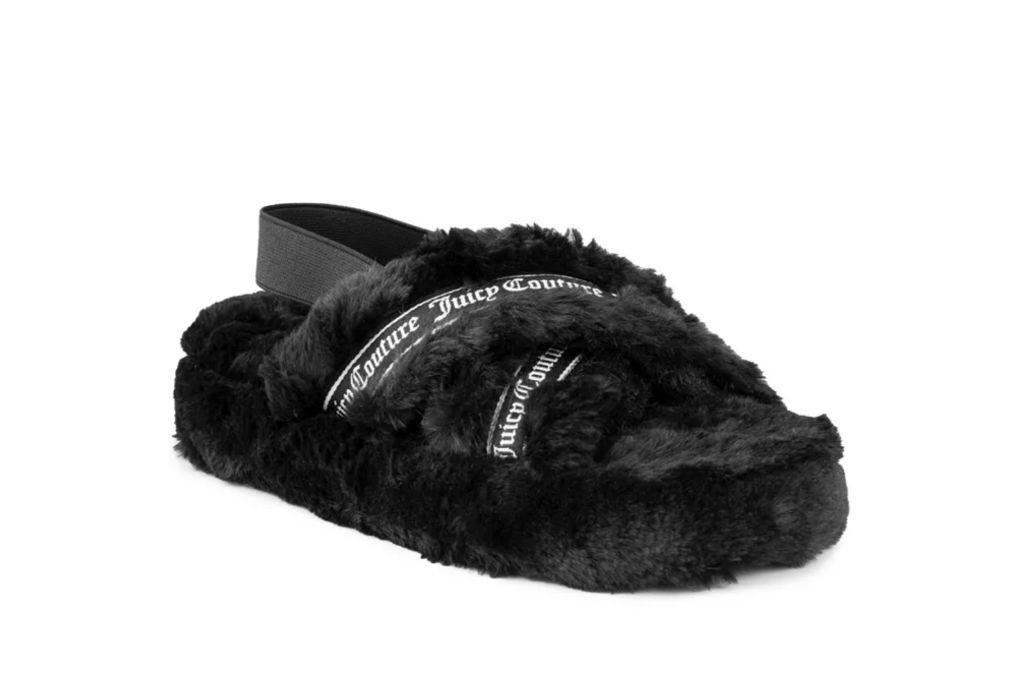 juicy couture, slingback slipper, faux fur slipper