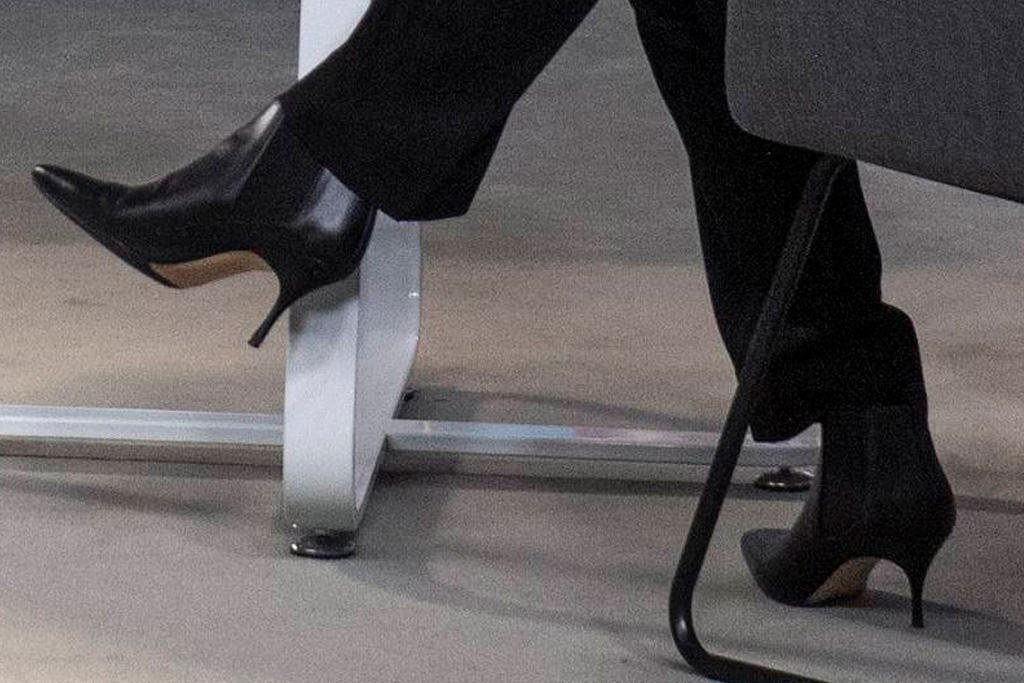 kamala harris, suit, blazer, pants, sweater, blouse, boots, booties, heels, meeting, american rescue plan, women, leaders, dc