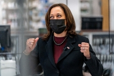 Kamala Harris Gives Her Go-To Black Power Suit an Upgrade With Ribbed Burgundy Turtleneck & Pointy Pumps