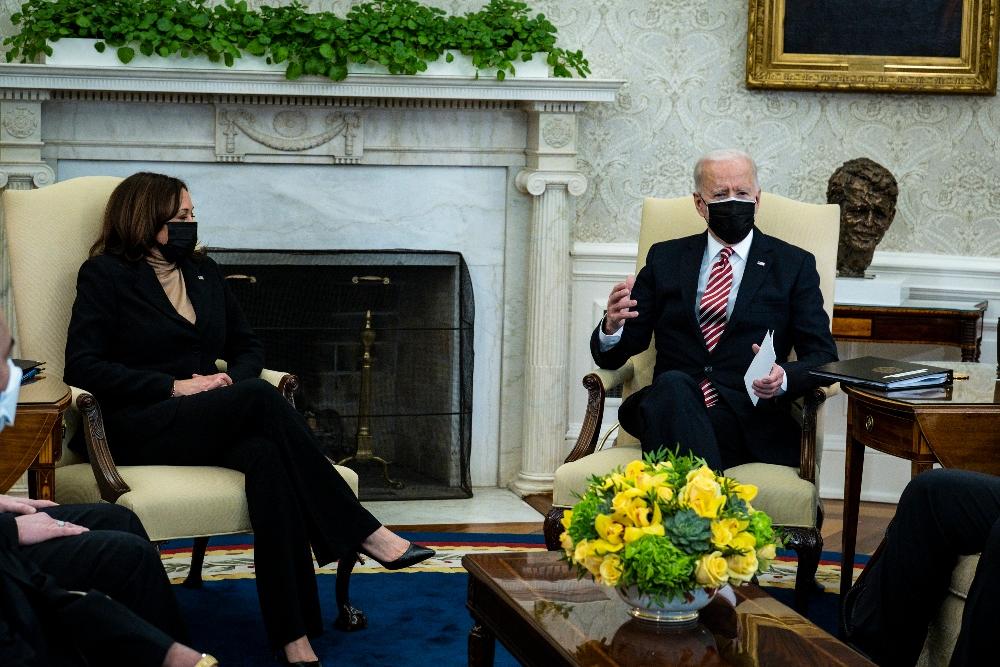 kamala harris, pants, suit, blazer, sweater, heels, white house, american rescue plan, oval office, joe biden
