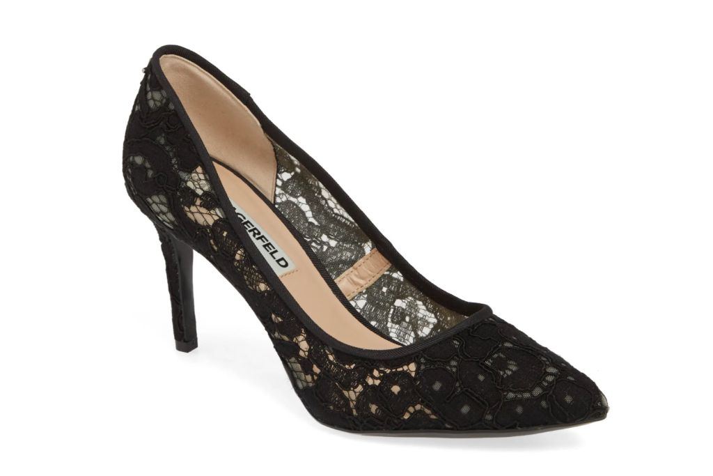 karl lagerfeld paris, royale pump, black lace heels