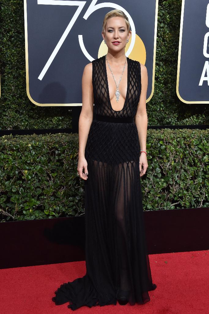 Kate Hudson black net dress golden globes