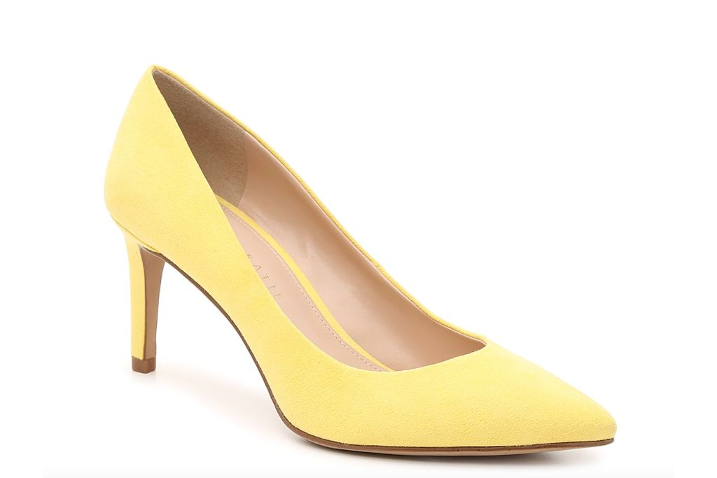 kelly katie, misha pump, yellow heels