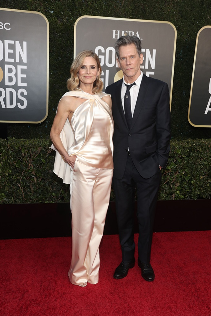 78th ANNUAL GOLDEN GLOBE AWARDS -- Pictured: (l-r) Kyra Sedgwick and Kevin Bacon arrive to the 78th Annual Golden Globe Awards held at the Beverly Hilton Hotel on February 28, 2021. -- (Photo by: Todd Williamson/NBC)