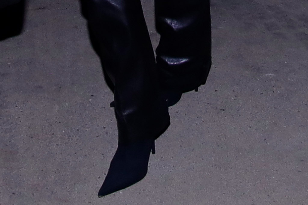 kim kardashian, leather pants, cutout shirt, red shirt, black boots, booties, los angeles