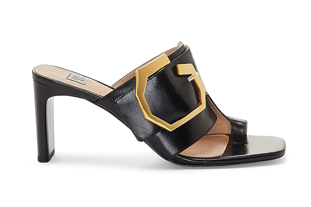 black sandals, heel, loop toe, louise et cie