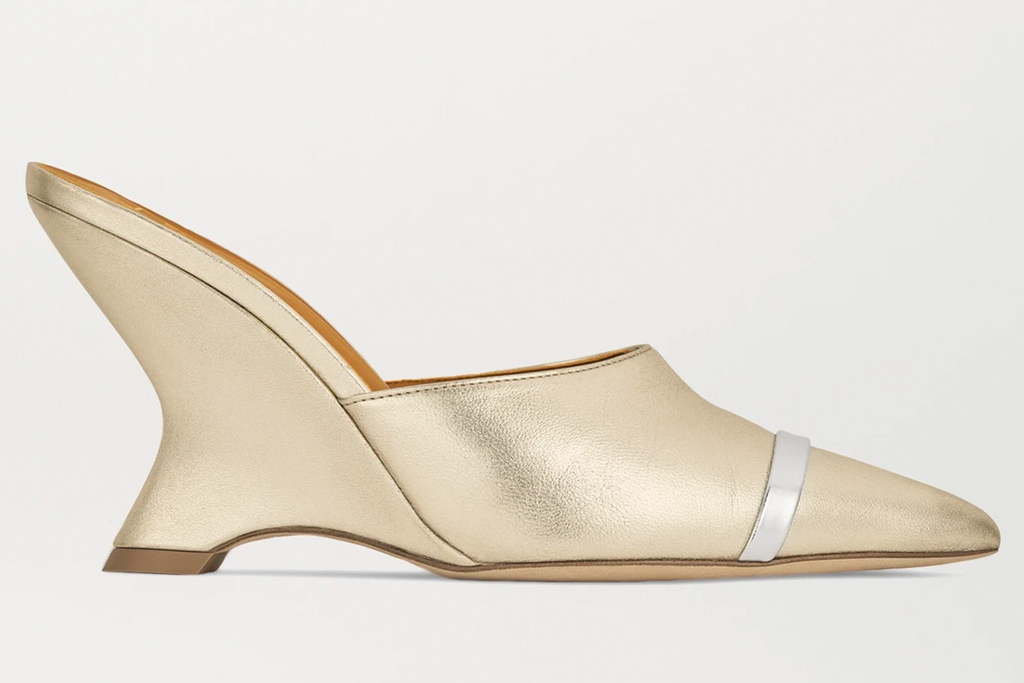 wedges, heels, reflective, metallic mules, malone souliers