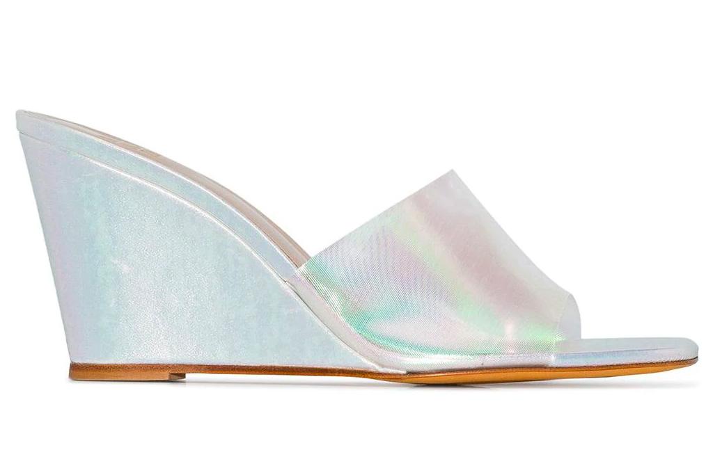 wedges, heels, reflective, metallic mules, maryam