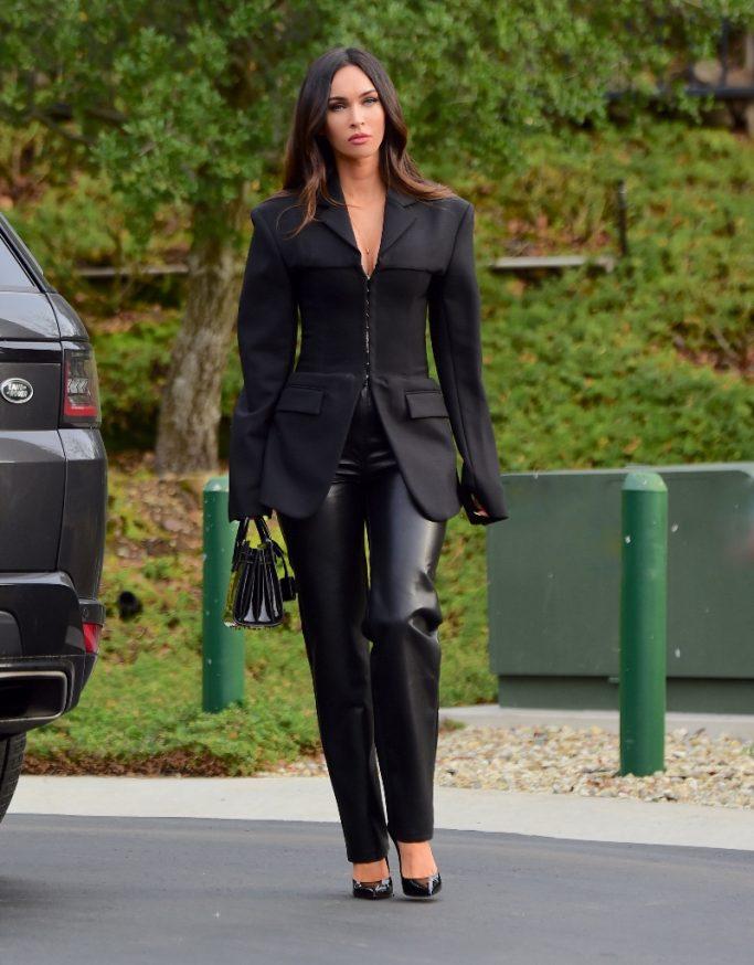 megan fox, leather pants, blazer, corset, heels, los angeles, schutz, dion lee, black, purse, la