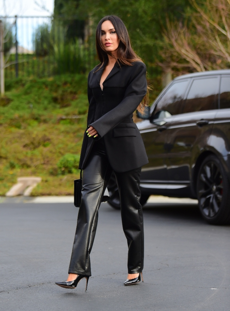 megan fox, leather pants, blazer, corset, heels, los angeles, schutz, dion lee, black, purse, la