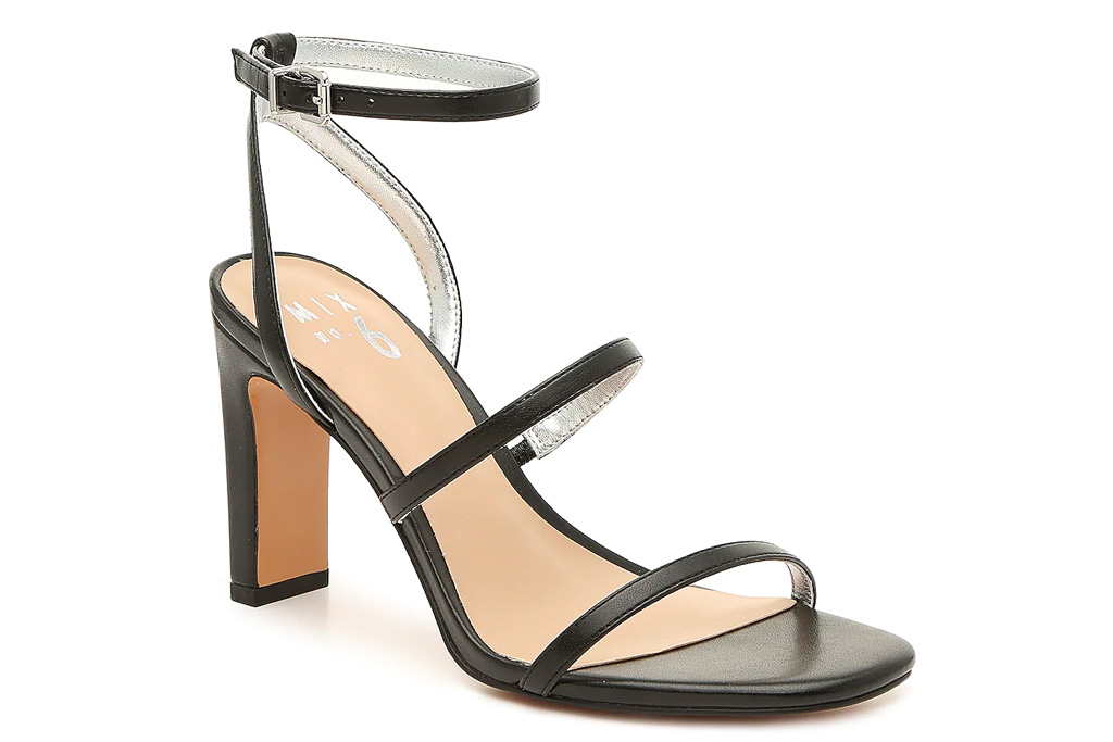 sandals, strappy, black, heels, mix no 6