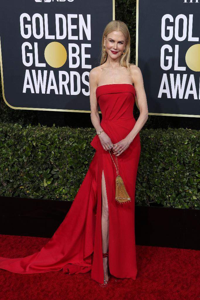 Nicole Kidman, red dress, 2020 golden globes