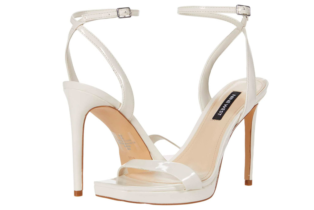 white sandals, heels, nine west