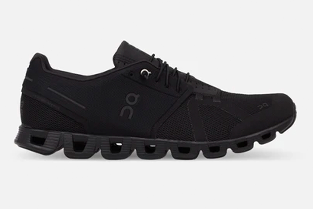 black sneakers, running shoes, on running