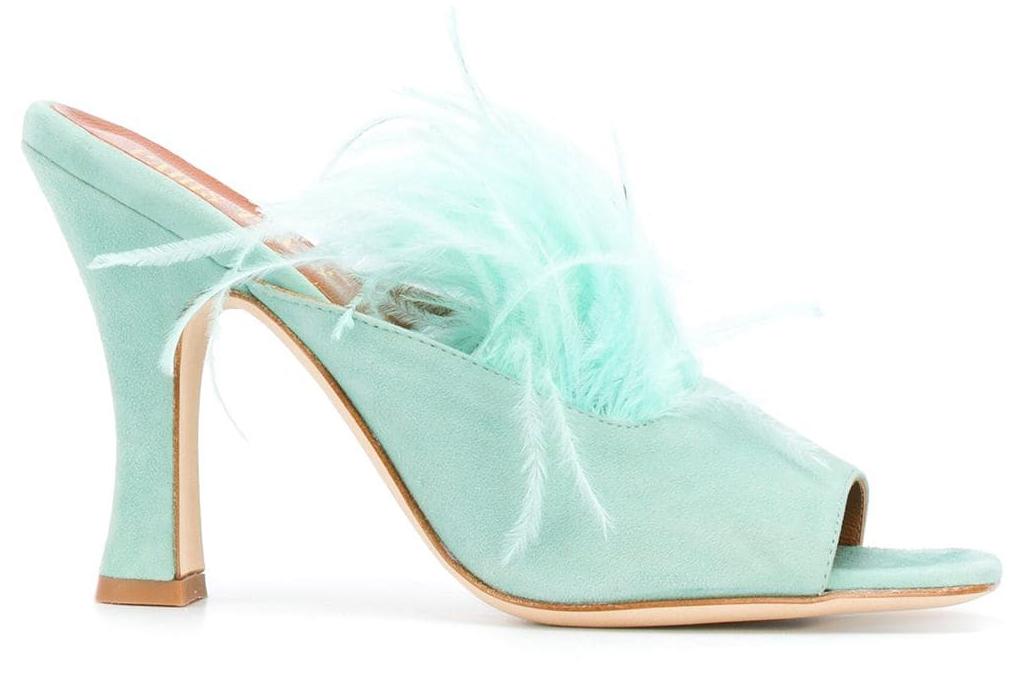 green sandals, block heel, paris texas