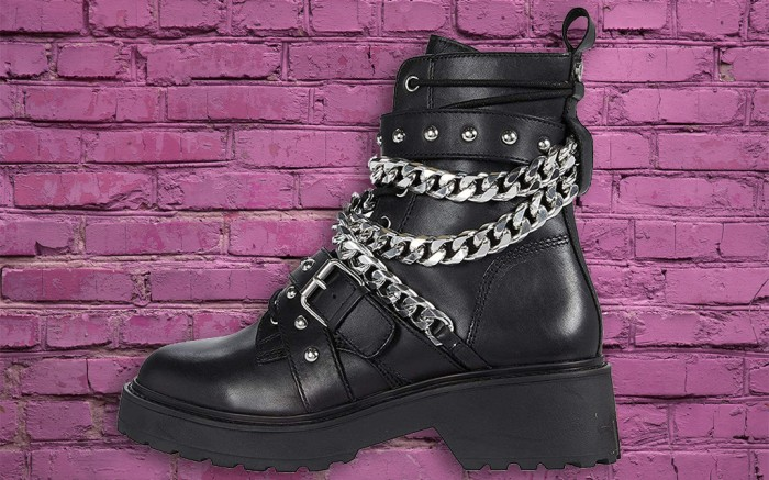 punk boots, best punk boots, steve madden temina combat boot, combat boot with chains