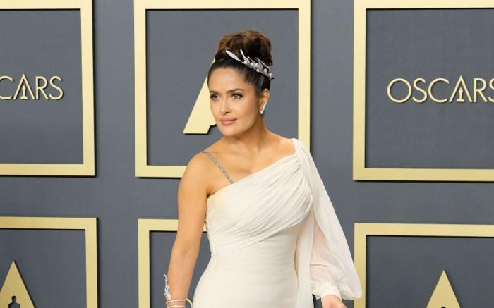 salma hayek, white gown