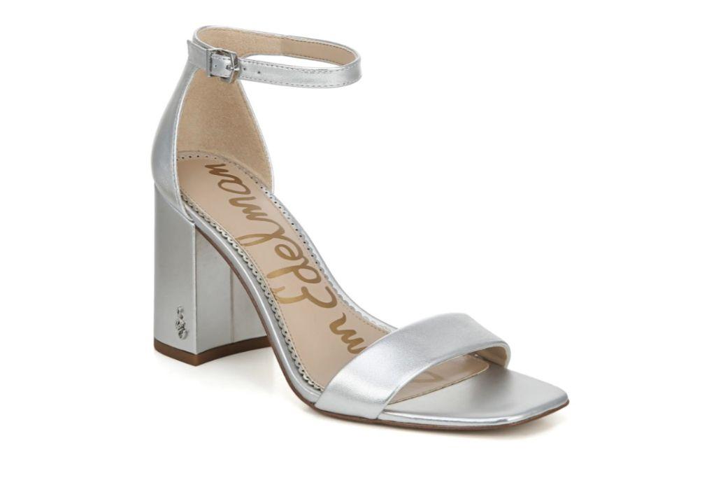 sam edelman, daniella ankle strap sandal, silver block heel