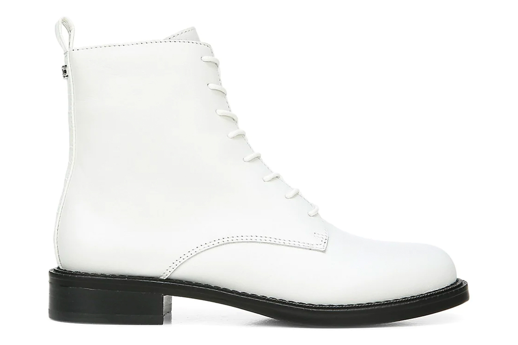white boots, black outsole, sam edelman
