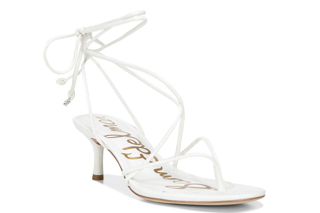white sandals, thong, ankle wrap, sam edelman