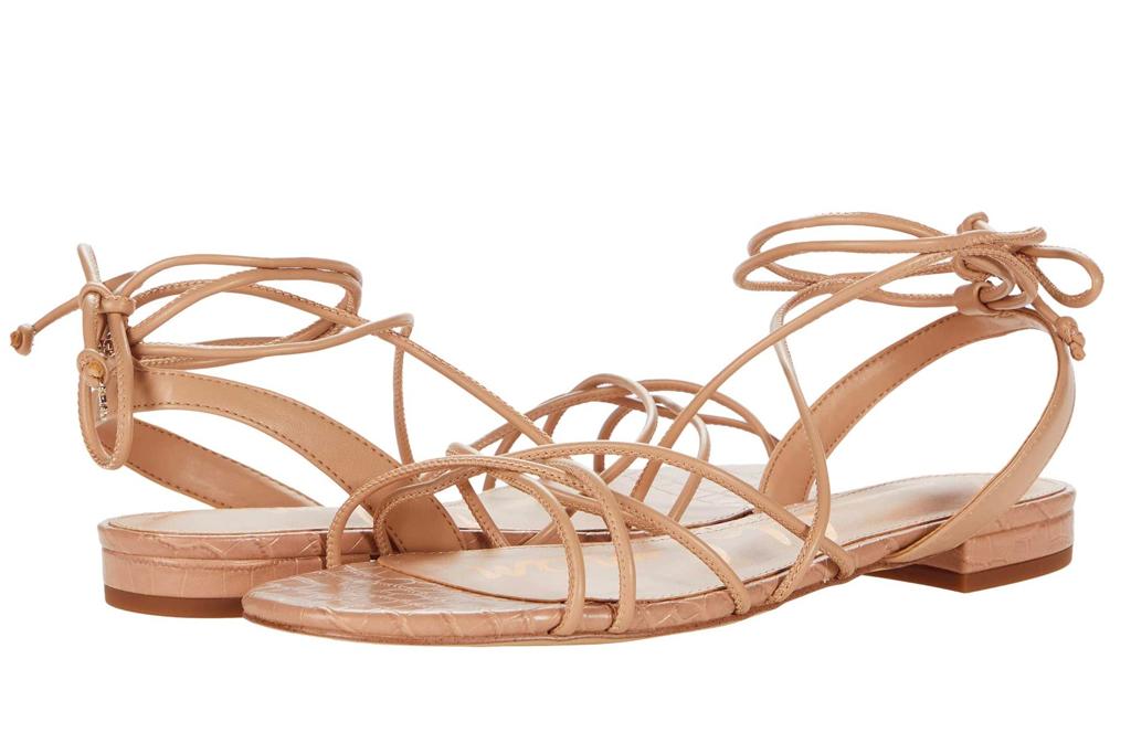 tan sandals, ankle wrap, sam edelman
