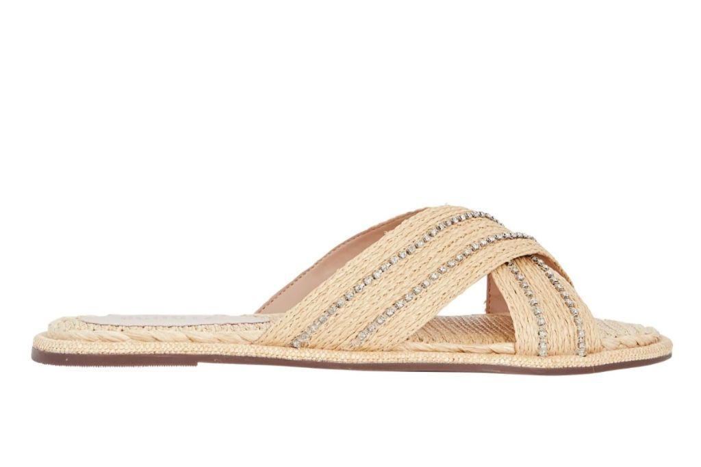 schutz, raffia sandal, straw slide sandal