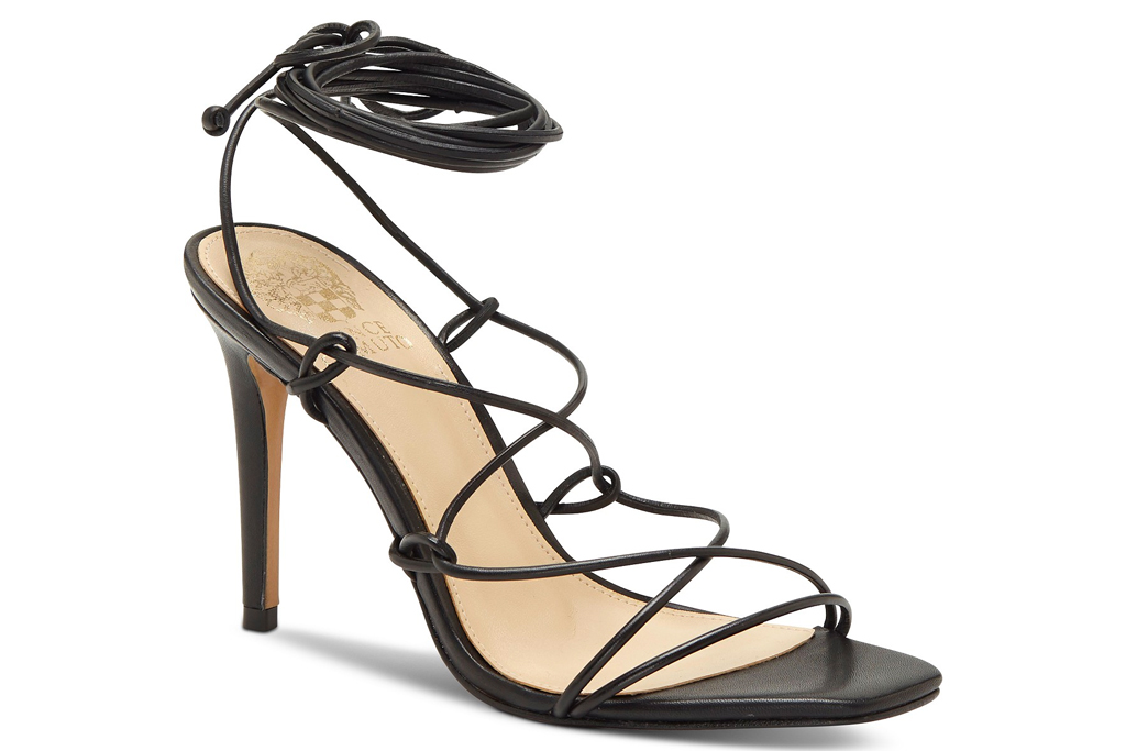 black sandals, heels, wrap, vince camuto