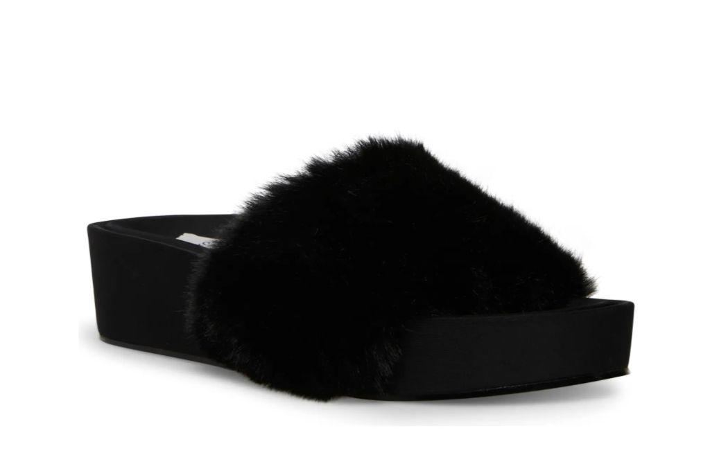 steven new york, raine faux fur slide sandal