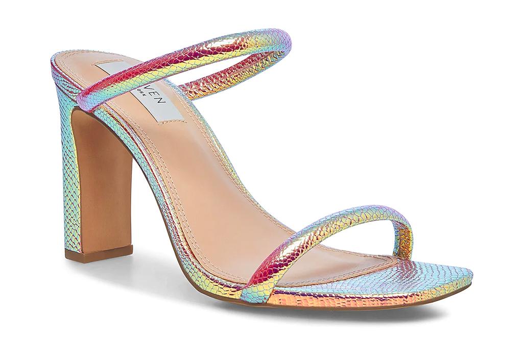 iridescent heels, mules, steven ny