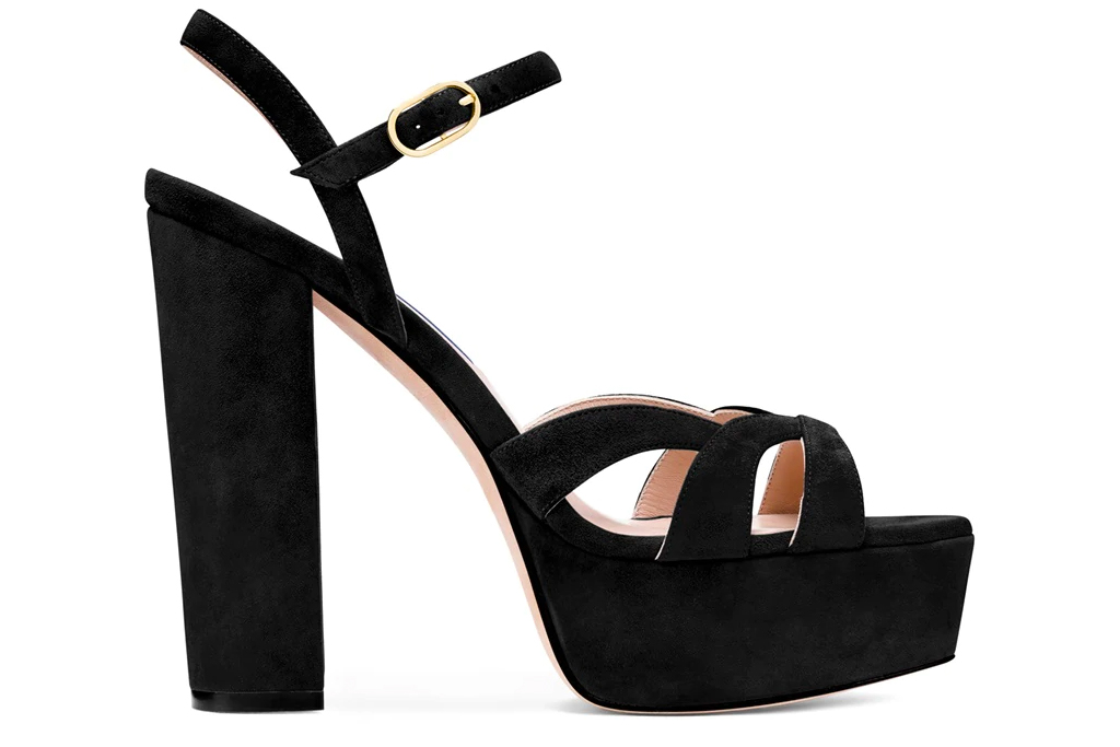 black sandals, platforms, stuart weitzman