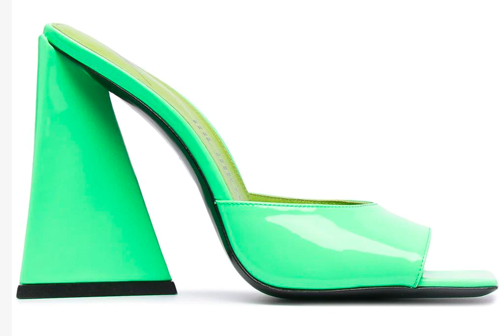 the attico, green heels, sandals, mules