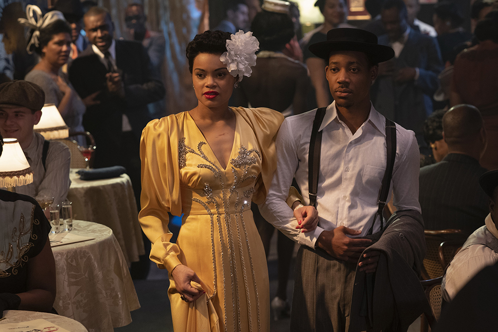 Andra Day and Tyler James Williams in THE UNITED STATES VS. BILLIE HOLIDAY from Paramount Pictures. Photo Credit: Takashi Seida.