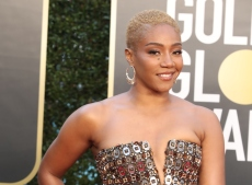 Tiffany Haddish Dazzles in Metallic Crystal-Adorned Gown at the Golden Globes 2021