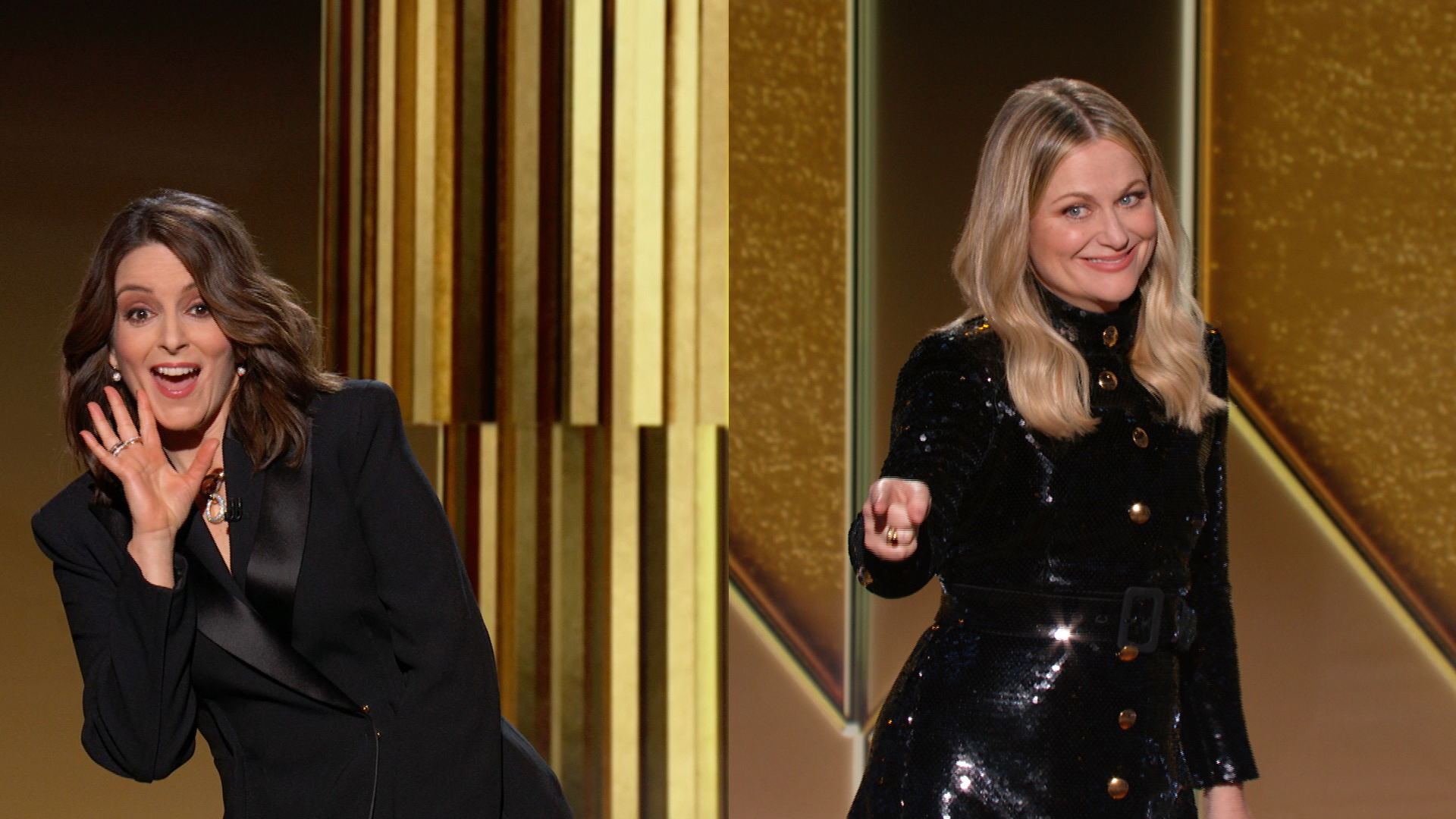 Tina Fey, Amy Poehler Stun in Chic All-Black Ensembles at the Golden Globes