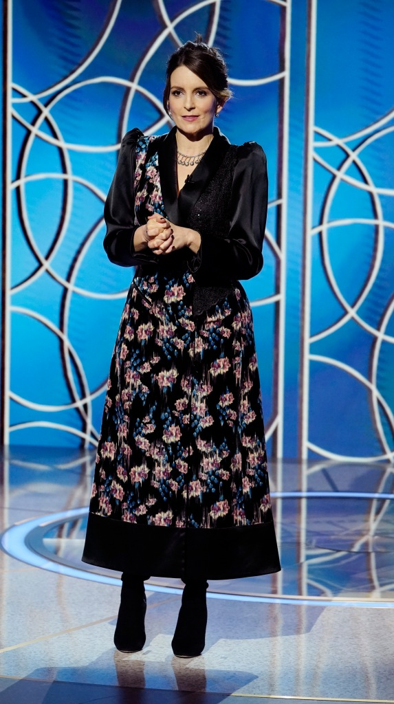 78th ANNUAL GOLDEN GLOBE AWARDS -- Pictured: Co-host Tina Fey speaks onstage at the 78th Annual Golden Globe Awards held at the Rainbow Room on February 28, 2021 -- (Photo by: Peter Kramer/NBC)