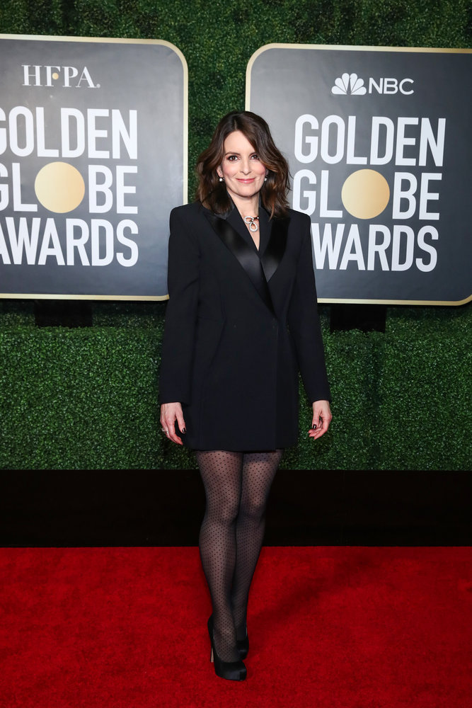 78th ANNUAL GOLDEN GLOBE AWARDS -- Pictured: Tina Fey arrives at the 78th Annual Golden Globe Awards held at the Rainbow Room in Rockefeller Center on February 28, 2021 -- (Photo by: Cindy Ord/NBC)