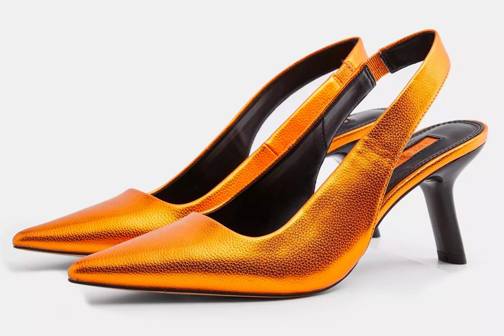 orange heels, sandals, topshop