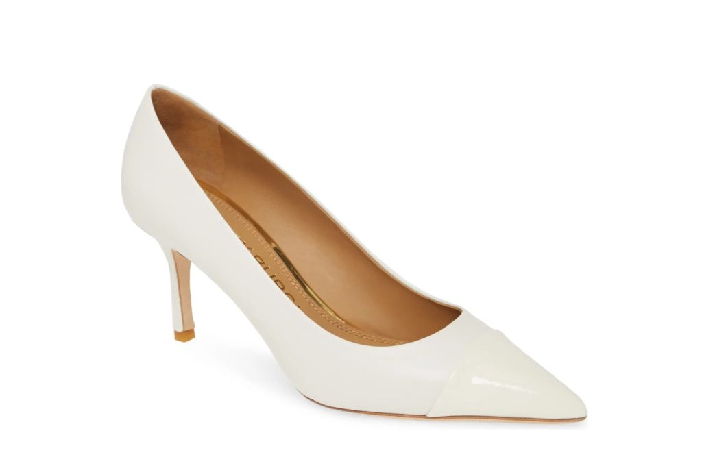 tory burch, penelope cap toe pump, white heels