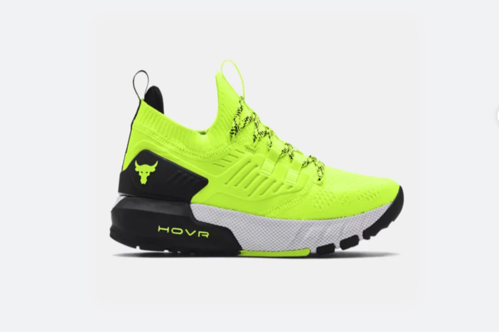 under armour, project rock 3 training shoes, neon, lime green