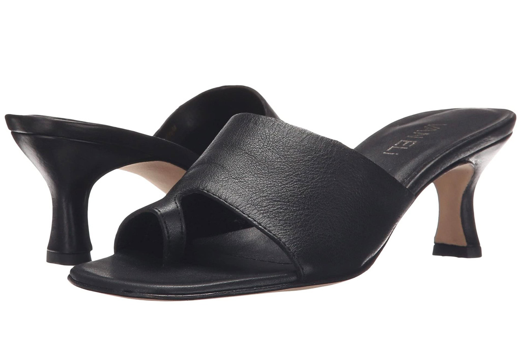 black sandals, heel, loop toe, vaneli