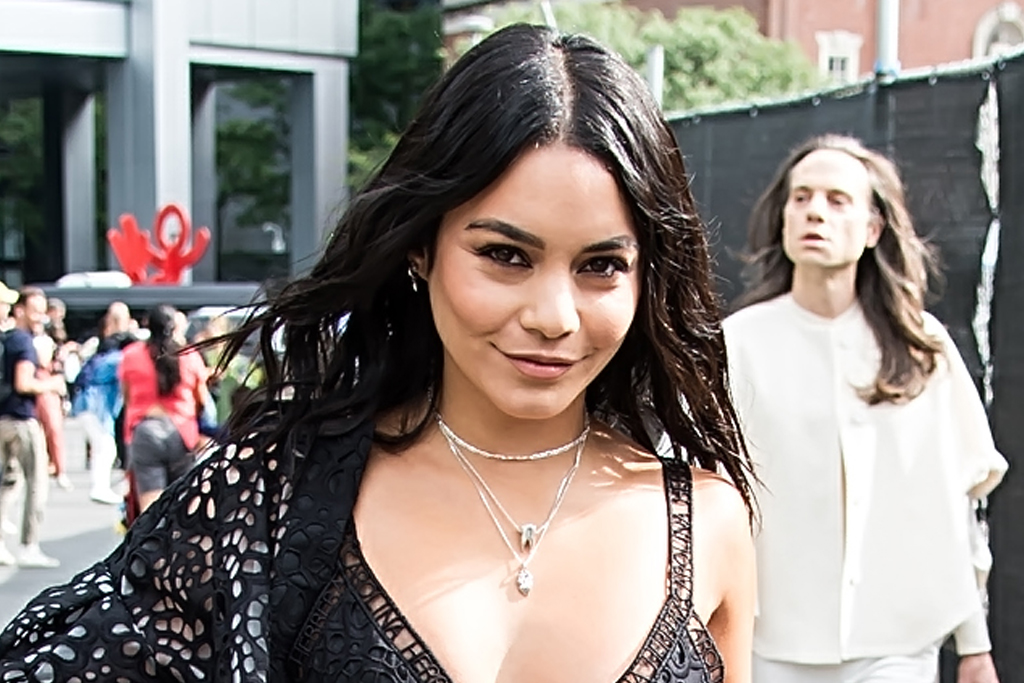 Vanessa Hudgens Dares to Wear a Bathing Suit in the Snow With a Puffer Coat & Neon Snow Boots - Footwear News