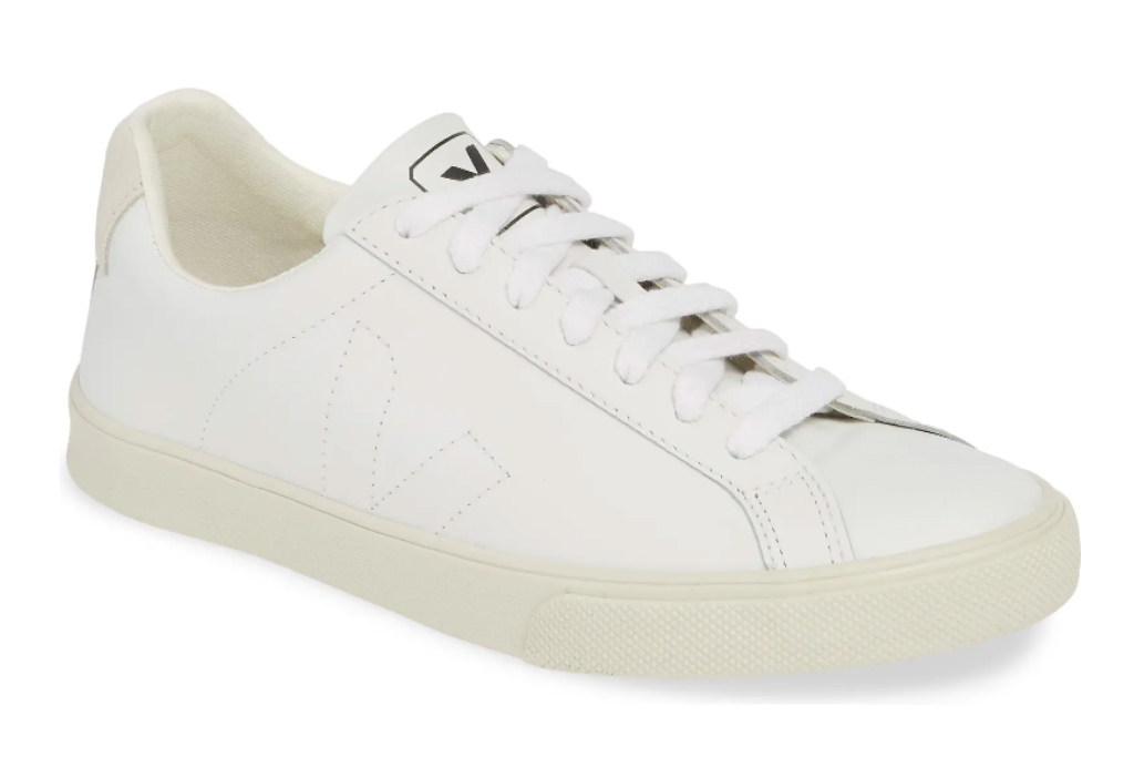 white sneakers, leather, veja