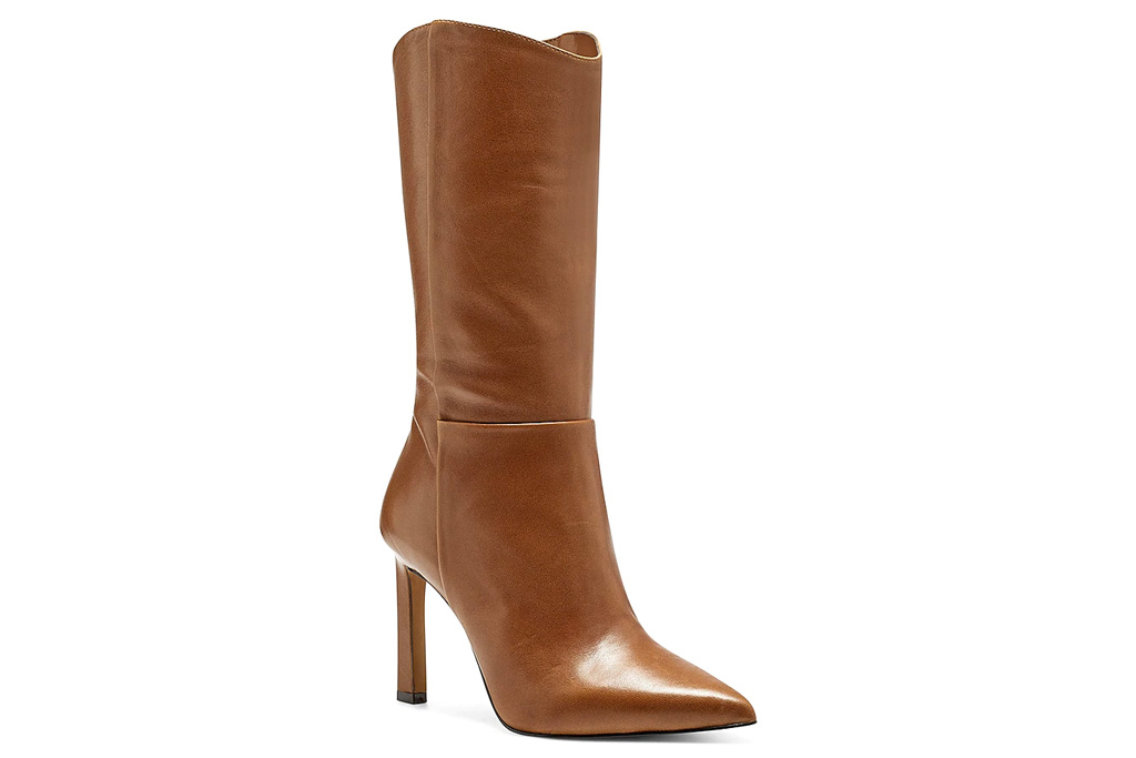 brown boots, heels, vince camuto