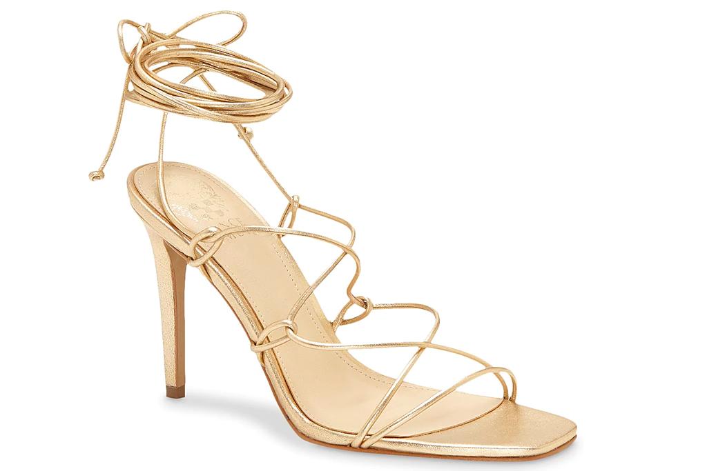 tan sandals, ankle wrap, vince camuto